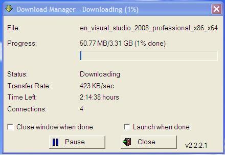 VS2008 download screenshot