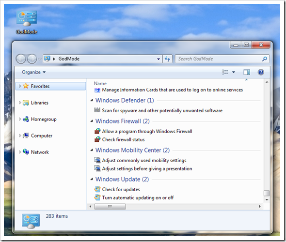 Windows 7 God Mode Screenshot